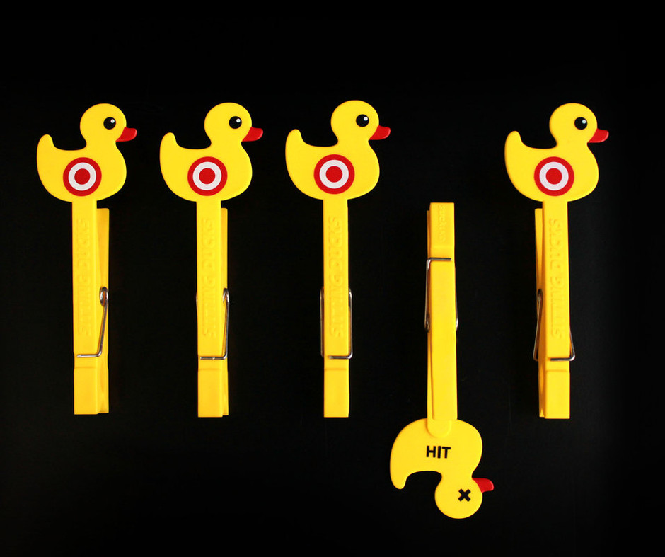 Sitting Duck Pegs : Useful clips, with fairground style shooting game design