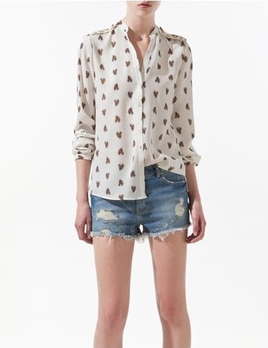 Buy Stylish Vogue Rivets Embellished V-neck Horse Head Print Long Sleeve Blouse White with cheapest price|Clothing-Dropship.com