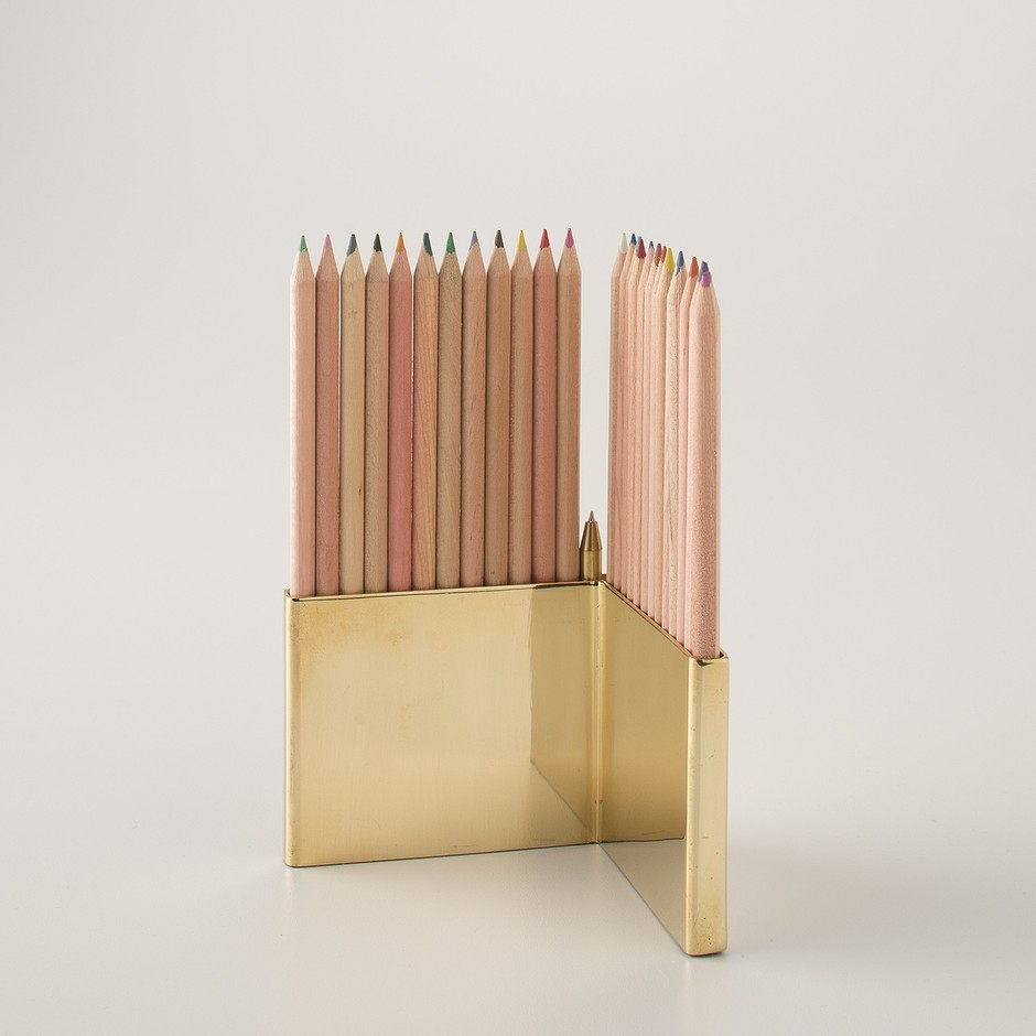 Colored Pencils With Brass Holder Set | Design