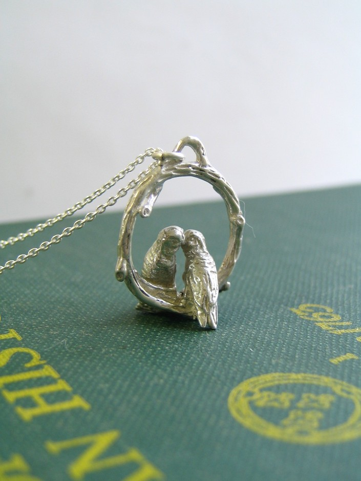 Love Birds Necklace in Sterling Silver by touchthedutch on Etsy