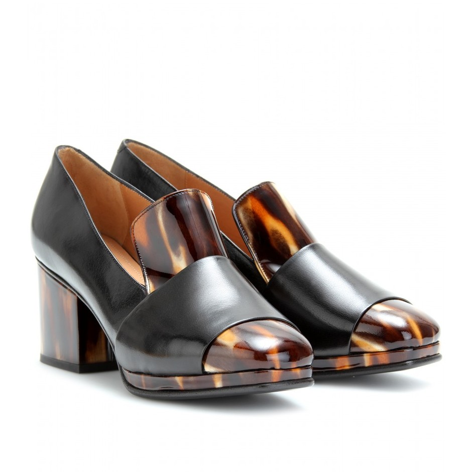mytheresa.com - Dries Van Noten - LEATHER LOAFER PUMPS WITH HORN-EFFECT TRIM - Luxury Fashion for Women / Designer clothing, shoes, bags