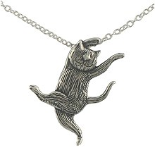 GoreyStore.com Dancing Cat Necklace Sterling Silver