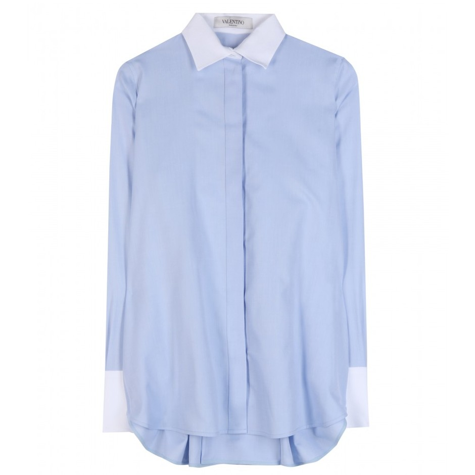 mytheresa.com - Cotton shirt - Long-sleeved - Tops - Clothing - Valentino - Luxury Fashion for Women / Designer clothing, shoes, bags