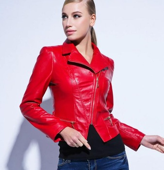 Womens Leather Jacket New Brand Designer Winter Fashion Women Slim Faux Leather Jacket Black Red High Quality 080332-in Leather & Suede from Apparel & Accessories on Aliexpress.com