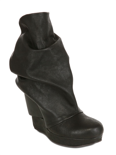 LD TUTTLE - 120MM DRAPED SOFT CALF LOW BOOT WEDGES - LUISAVIAROMA - LUXURY SHOPPING WORLDWIDE SHIPPING - FLORENCE