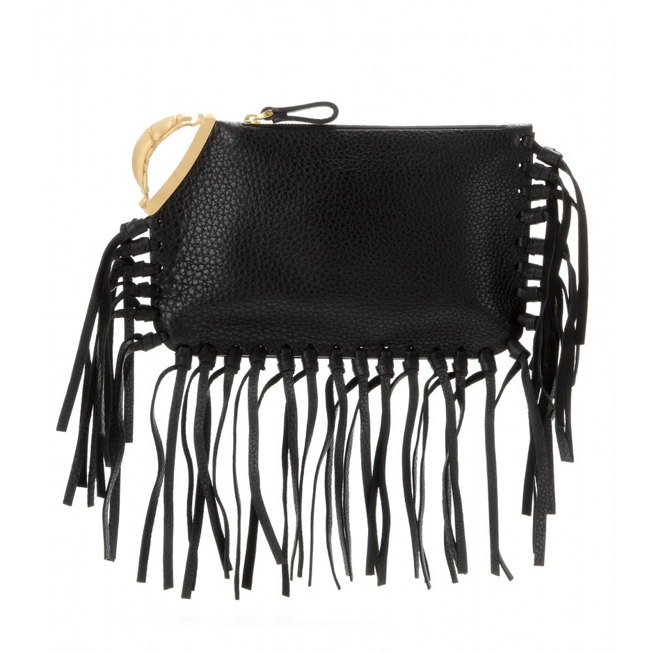 Valentino | Scarab fringed textured-leather clutch | NET-A-PORTER.COM