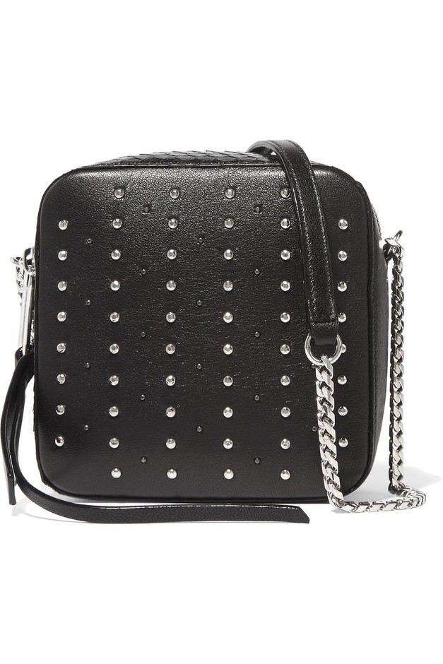 Jimmy Choo | Roxi studded leather and glossed-elaphe shoulder bag | NET-A-PORTER.COM