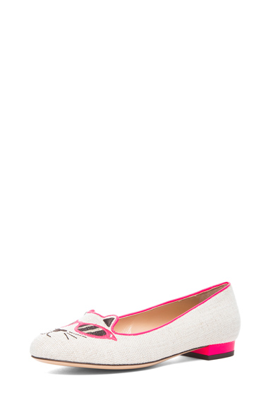 Charlotte Olympia|Sunkissed Kitty Flats in Fluorescent Pink