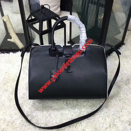 Saint Laurent Small Cabas YSL Bag In White Leather Black
