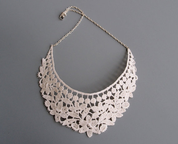 Ivory Lace Necklace Sarane Lace Bridal Jewelry by branchbound