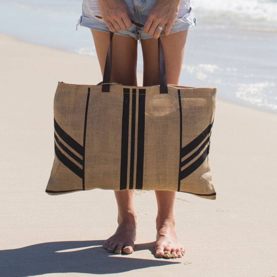 Beach Bag with Leather Handle - Stripe - The Beach People