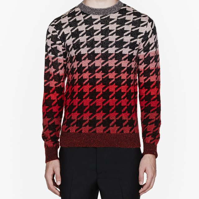 Fancy - Pink Ombre Mohair Pied De Poule Sweater by Paul Smith