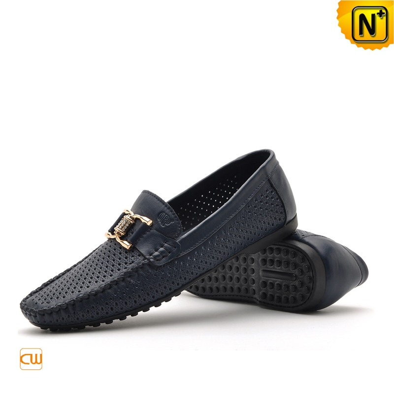 Mens Black/Blue Tods Shoes Breathable Leather Loafers CW712530 | CWMALLS