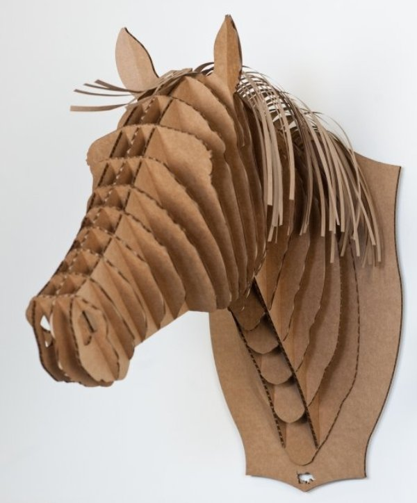 SaturDIY|Cardboard Safari Merlin /Merle Unicorn / Horse Trophy