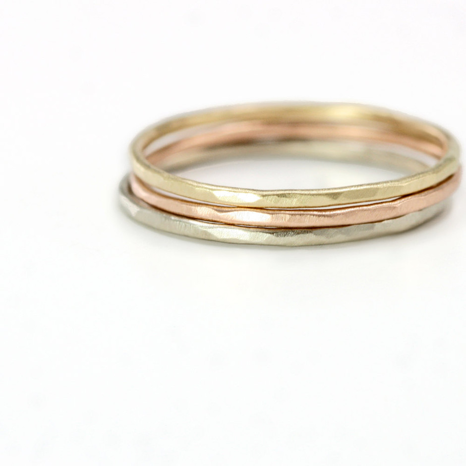 Tri colored 14k Gold Stacking Ring Set of 3 by ScarlettJewelry