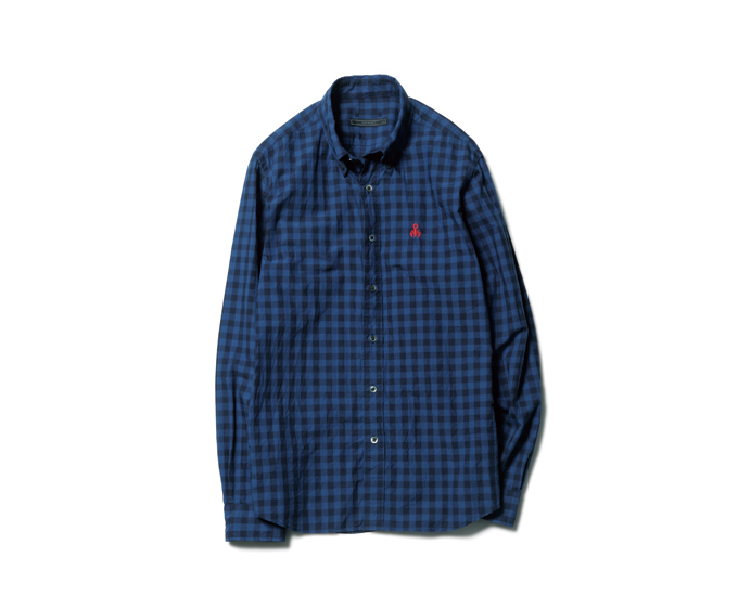 SOPHNET. | PRODUCT | SCORPION EMBROIDERY INDIGO TYPE WRITER CHECK B.D SHIRT