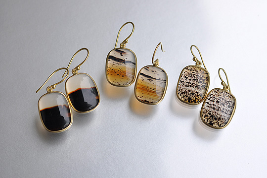 Square Montana Agate Earrings (Tej Kothari) - SOURCE objects