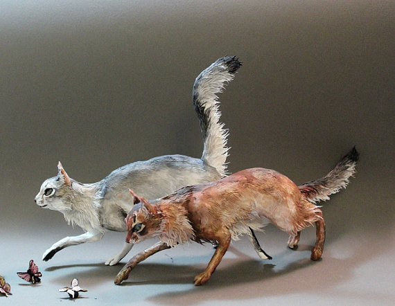 CUSTOM ORDER Cat or Pet Sculpture small by creaturesfromel