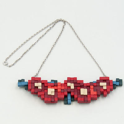 ANREALAGE LOW PIXEL 3D フラワー ネックレス ワイン   SOUVENIR FROM TOKYO ONLINE SHOP