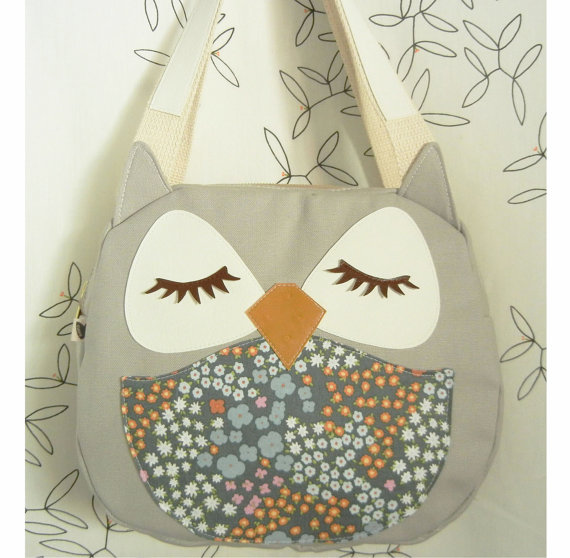 Chewy the Owl Multi Floral Applique Canvas Tote Purse by Cuore