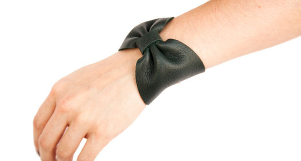 Of a Kind - NIGHT SHADE LEATHER BOW CUFF by gabriela artigas