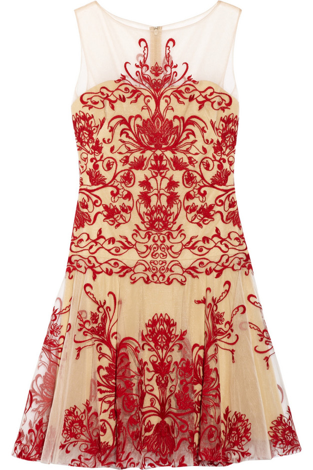 Notte by Marchesa|Embroidered tulle mini dress|NET-A-PORTER.COM