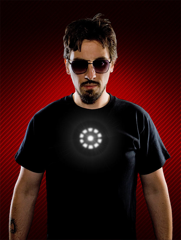 ThinkGeek :: Tony Stark Light up LED Iron Man Shirt