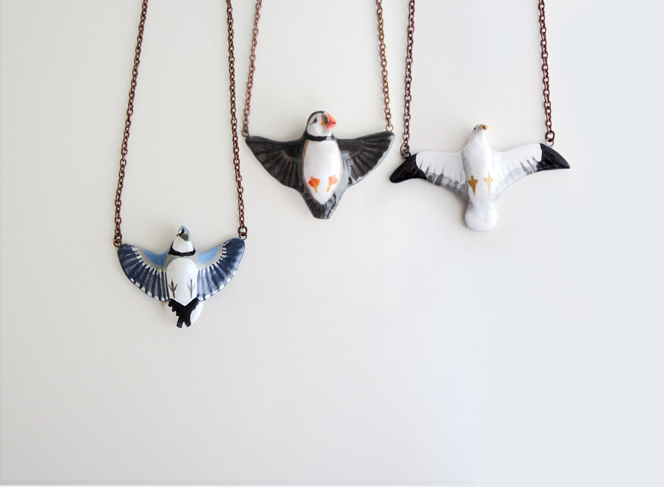 Custom bird in flight necklace by HandyMaiden on Etsy