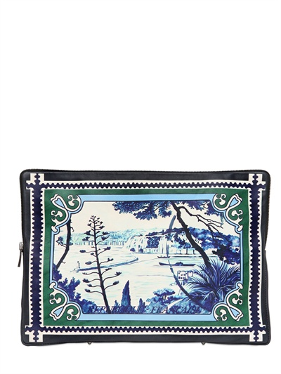 MARY KATRANTZOU - KATHMANDU PRINTED LEATHER LARGE POUCH - LUISAVIAROMA - LUXURY SHOPPING WORLDWIDE SHIPPING - FLORENCE
