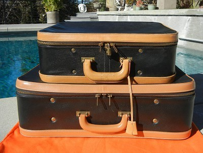RARE/COLLECTIBLE!***VINTAGE HERMES Black-Tan Leather Luggage Set | eBay