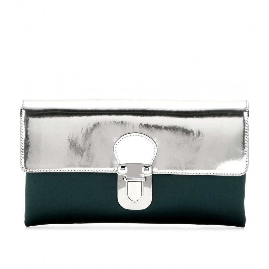 mytheresa.com - Metallic-leather and satin clutch - clutch bags - bags - Luxury Fashion for Women / Designer clothing, shoes, bags