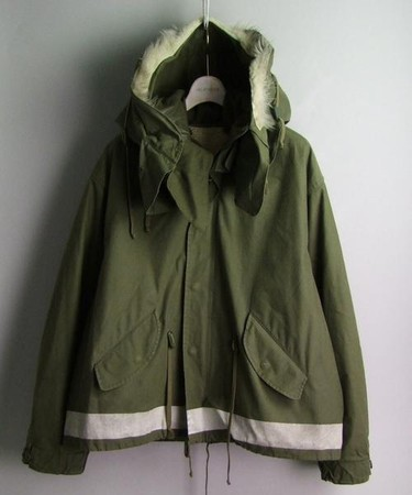 parka with faux fur collar and painted strip