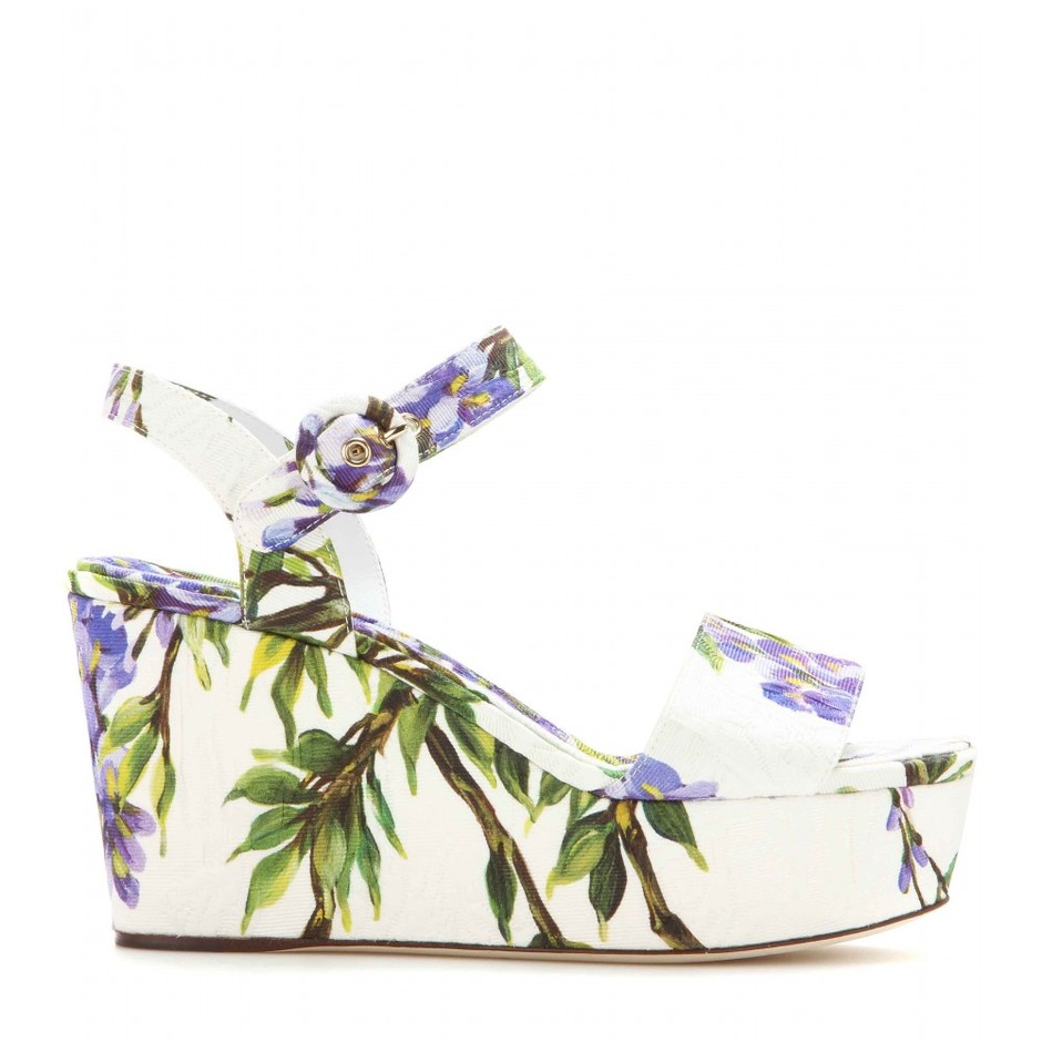 mytheresa.com - Bianca brocade wedge sandals - High-heel - Sandals - Shoes - Dolce & Gabbana - Luxury Fashion for Women / Designer clothing, shoes, bags