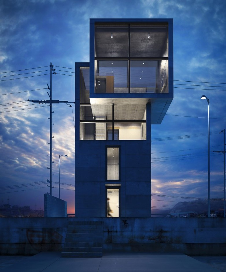 Pictures - Ando 4x4 House - At dusk - Architizer - Empowering Architecture: architects, buildings, interior design, materials, jobs, competitions, design schools