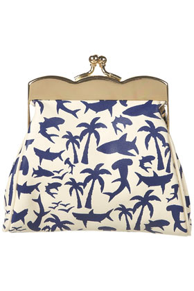 Blue Shark Print Clasp Purse - Bags & Wallets - Accessories - Topshop USA