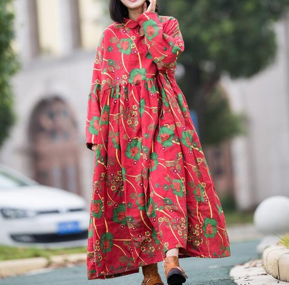 Red Loose Fitting Long Dress Winter Dress for Women Women | Etsy