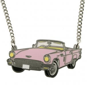 Pink Metal Retro Car Necklace | Pink Caddilac Necklace | Kitsch Jewellery