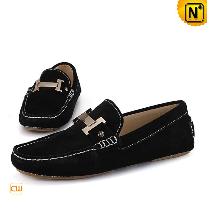 Mens Black/Brown Leather Loafers Shoes CW713125 | CWMALLS
