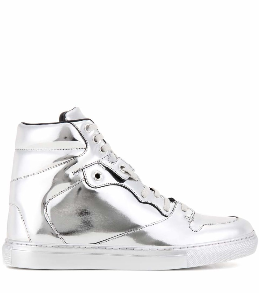 mytheresa.com - Metallic leather high-top sneakers - Luxury Fashion for Women / Designer clothing, shoes, bags