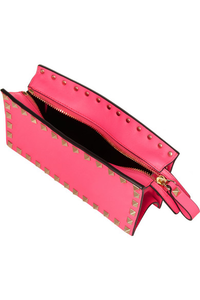 Valentino|Neon studded leather pouch|NET-A-PORTER.COM