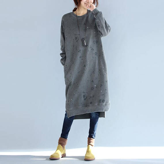 Winter loose cotton Asymmetry dress large size Winter