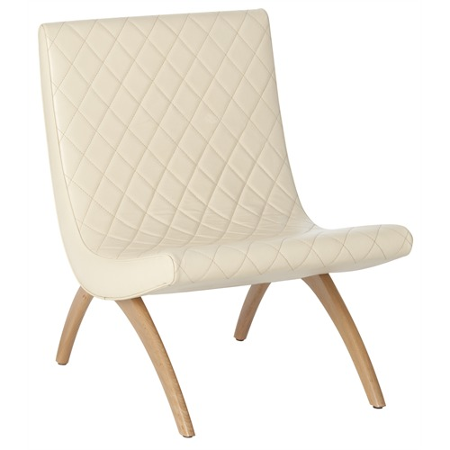 Neutral Leather and Wood Chair with ivory diamond quilted top grain leather seat and curved wooden legs