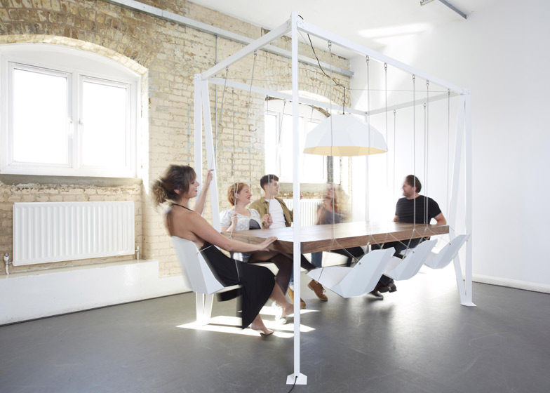 Swing Table with hanging chairs by Duffy London
