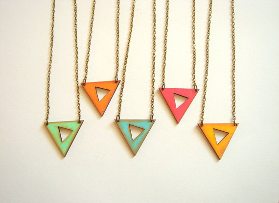 Geometric Neon Necklace Wood Triangles by LiKeGjewelry on Etsy