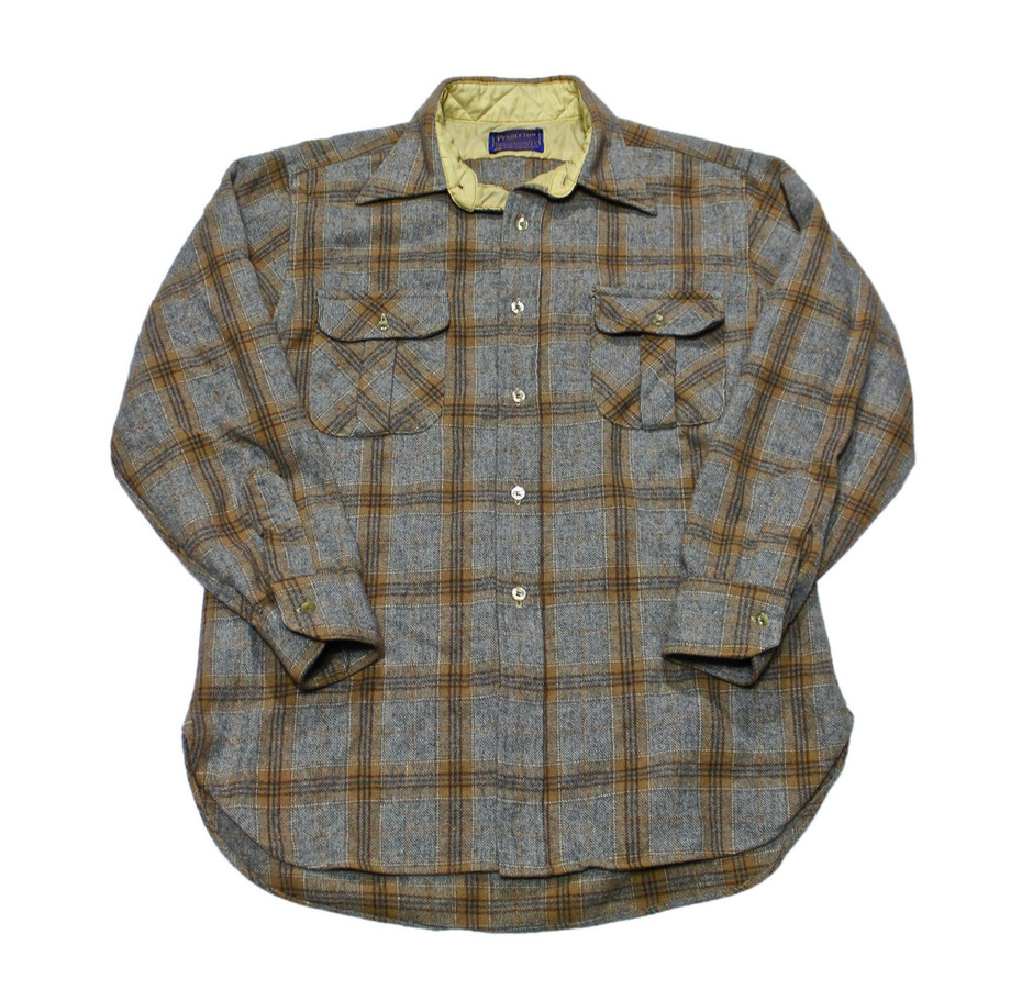 Vintage 80s Pendleton Gray Plaid Wool Button Up Made in USA Sz Medium | Vintage Mens Goods