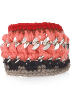Marni?|?Knitted wool and brass chain bracelet ?|?NET-A-PORTER.COM