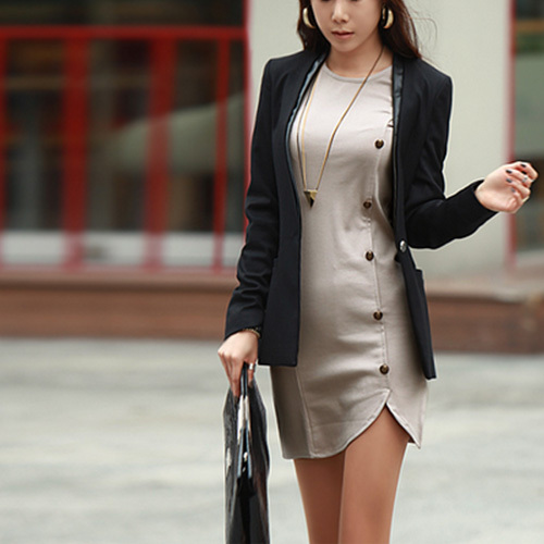 [grxjy562125]Fashion Round Neck Side Single-breasted Long Sleeve Dress / pgfancy- fashion online shopping mall