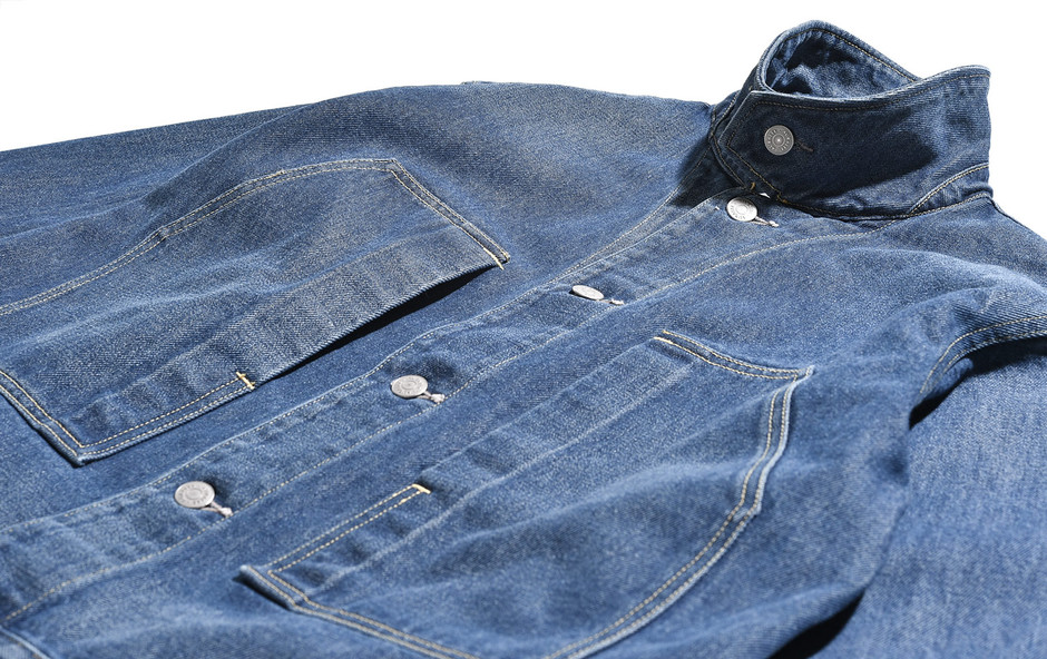 Washed Hard Twist Denim Blouson-Light Indigo