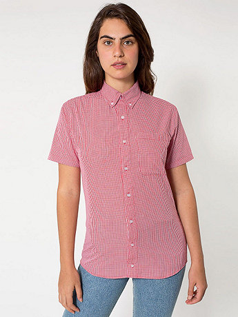 Unisex Gingham Short Sleeve Button-Down with Pocket | American Apparel