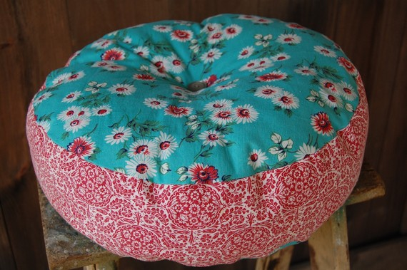 vintage fabric round pillow by enhabiten on Etsy